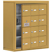 Cell Phone Locker with Access Panel 19148-12GSK - Surface Mounted, Keyed Locks, 12 A Doors, Gold