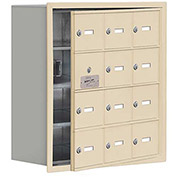 Cell Phone Locker with Access Panel 19148-12SRK - Recessed Mounted Keyed Locks 12 A Doors, Sandstone