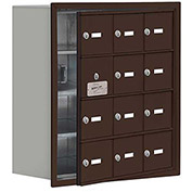 Cell Phone Locker with Access Panel 19148-12ZRK - Recessed Mounted, Keyed Locks, 12 A Doors, Bronze