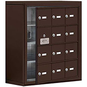 Cell Phone Locker with Access Panel 19148-12ZSK - Surface Mounted, Keyed Locks, 12 A Doors, Bronze