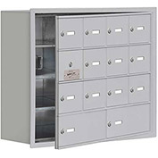 Cell Phone Locker with Access Panel 19148-14ARK - Recessed Mounted Keyed Locks 12A&2B Doors Aluminum