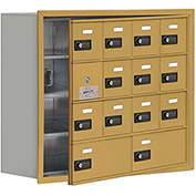 Cell Phone Locker with Access Panel 19148-14GRC - Recessed Mounted, Combo Locks 12A & 2B Doors, Gold