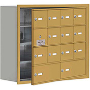 Cell Phone Locker with Access Panel 19148-14GRK - Recessed Mounted Keyed Locks, 12A & 2B Doors, Gold