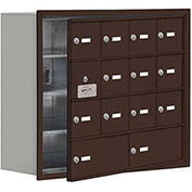 Cell Phone Locker with Access Panel 19148-14ZRK - Recessed Mounted Keyed Locks 12A & 2B Doors Bronze