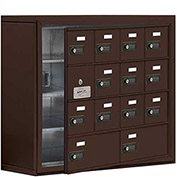 Cell Phone Locker with Access Panel 19148-14ZSC - Surface Mounted Combo Locks 12A & 2B Doors, Bronze