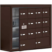 Cell Phone Locker with Access Panel 19148-14ZSK - Surface Mounted Keyed Locks 12A & 2B Doors, Bronze