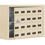 Cell Phone Locker with Access Panel 19148-20SSC - Surface Mounted, Combo Locks 20 A Doors, Sandstone