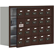 Cell Phone Locker with Access Panel 19148-20ZRC - Recessed Mounted, Combo Locks, 20 A Doors, Bronze