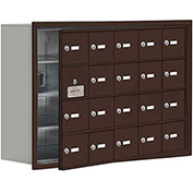 Cell Phone Locker with Access Panel 19148-20ZRK - Recessed Mounted, Keyed Locks, 20 A Doors, Bronze