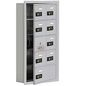 Cell Phone Locker with Access Panel 19155-09ARC - Recessed Mounted Combo Locks 8A&1B Doors Aluminum