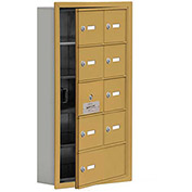 Cell Phone Locker with Access Panel 19155-09GRK - Recessed Mounted, Keyed Locks, 8A & 1B Doors, Gold