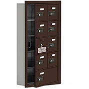 Cell Phone Locker with Access Panel 19155-09ZRC - Recessed Mounted Combo Locks 8A & 1B Doors, Bronze
