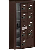 Cell Phone Locker with Access Panel 19155-09ZSC - Surface Mounted, Combo Locks 8A & 1B Doors, Bronze