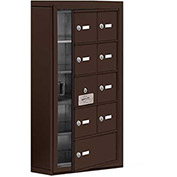 Cell Phone Locker with Access Panel 19155-09ZSK - Surface Mounted Keyed Locks, 8A & 1B Doors, Bronze