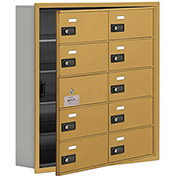 Cell Phone Locker with Access Panel 19155-10GRC - Recessed Mounted, Combo Locks, 10 B Doors, Gold