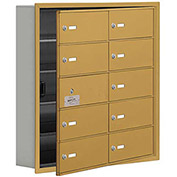 Cell Phone Locker with Access Panel 19155-10GRK - Recessed Mounted, Keyed Locks, 10 B Doors, Gold