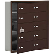 Cell Phone Locker with Access Panel 19155-10ZRK - Recessed Mounted, Keyed Locks, 10 B Doors, Bronze