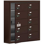 Cell Phone Locker with Access Panel 19155-10ZSC - Surface Mounted, Combo Locks, 10 B Doors, Bronze