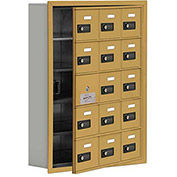 Cell Phone Locker with Access Panel 19155-15GRC - Recessed Mounted, Combo Locks, 15 A Doors, Gold