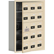 Cell Phone Locker with Access Panel 19155-15SRC - Recessed Mounted Combo Locks 15 A Doors, Sandstone