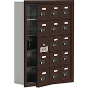Cell Phone Locker with Access Panel 19155-15ZRC - Recessed Mounted, Combo Locks, 15 A Doors, Bronze