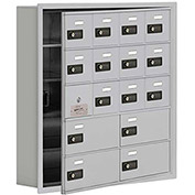 Cell Phone Locker with Access Panel 19155-16ARC - Recessed Mounted Combo Locks 12A&4B Doors Aluminum