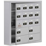 Cell Phone Locker with Access Panel 19155-16ASC - Surface Mounted Combo Locks 12A&4B Doors Aluminum