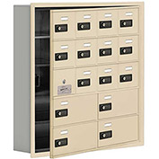 Cell Phone Locker with Access Panel 19155-16SRC - Recessed Mounted Combo Lock 12A&4B Doors Sandstone