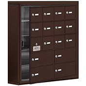 Cell Phone Locker with Access Panel 19155-16ZSK - Surface Mounted Keyed Locks 12A & 4B Doors, Bronze