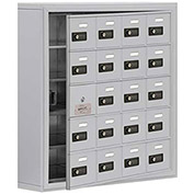 Cell Phone Locker with Access Panel 19155-20ASC - Surface Mounted, Combo Locks, 20 A Doors, Aluminum