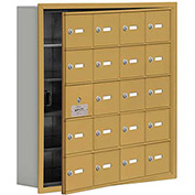 Cell Phone Locker with Access Panel 19155-20GRK - Recessed Mounted, Keyed Locks, 20 A Doors, Gold