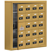 Cell Phone Locker with Access Panel 19155-20GSC - Surface Mounted, Combo Locks, 20 A Doors, Gold