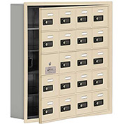 Cell Phone Locker with Access Panel 19155-20SRC - Recessed Mounted Combo Locks 20 A Doors, Sandstone