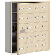 Cell Phone Locker with Access Panel 19155-20SRK - Recessed Mounted Keyed Locks 20 A Doors, Sandstone