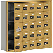 Cell Phone Locker with Access Panel 19155-25GRC - Recessed Mounted, Combo Locks, 25 A Doors, Gold