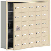 Cell Phone Locker with Access Panel 19155-25SRK - Recessed Mounted Keyed Locks 25 A Doors, Sandstone