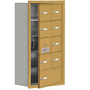 Cell Phone Locker with Access Panel 19158-09GRK - Recessed Mounted, Keyed Locks, 8A & 1B Doors, Gold