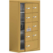 Cell Phone Locker with Access Panel 19158-09GSK - Surface Mounted, Keyed Locks, 8A & 1B Doors, Gold