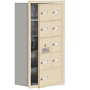 Cell Phone Locker with Access Panel 19158-09SRK - Recessed Mounted Keyed Locks 8A&1B Doors Sandstone
