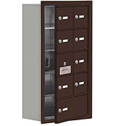 Cell Phone Locker with Access Panel 19158-09ZRK - Recessed Mounted Keyed Locks 8A & 1B Doors, Bronze