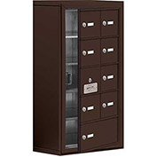 Cell Phone Locker with Access Panel 19158-09ZSK - Surface Mounted Keyed Locks, 8A & 1B Doors, Bronze
