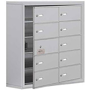 Cell Phone Locker with Access Panel 19158-10ASK - Surface Mounted, Keyed Locks, 10 B Doors, Aluminum