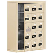 Cell Phone Locker with Access Panel 19158-15SSC - Surface Mounted, Combo Locks 15 A Doors, Sandstone