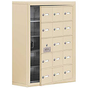 Cell Phone Locker with Access Panel 19158-15SSK - Surface Mounted Keyed Locks, 15 A Doors, Sandstone