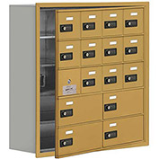 Cell Phone Locker with Access Panel 19158-16GRC - Recessed Mounted, Combo Locks 12A & 4B Doors, Gold