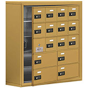 Cell Phone Locker with Access Panel 19158-16GSC - Surface Mounted, Combo Locks, 12A & 4B Doors, Gold