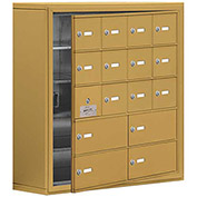 Cell Phone Locker with Access Panel 19158-16GSK - Surface Mounted, Keyed Locks, 12A & 4B Doors, Gold