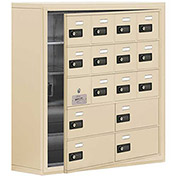 Cell Phone Locker with Access Panel 19158-16SSC - Surface Mounted Combo Locks 12A&4B Doors Sandstone