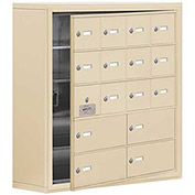 Cell Phone Locker with Access Panel 19158-16SSK - Surface Mounted Keyed Locks 12A&4B Doors Sandstone