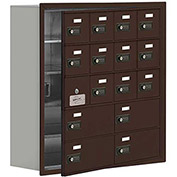 Cell Phone Locker with Access Panel 19158-16ZRC - Recessed Mounted Combo Locks 12A&4B Doors, Bronze